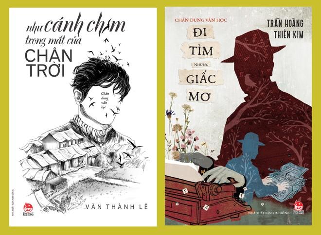 """Bìa hai tập chân dung văn học """"Đi tìm những giấc mơ"""" và """"Như cánh chim trong mắt của chân trời"""" (NXB Kim Đồng)"""