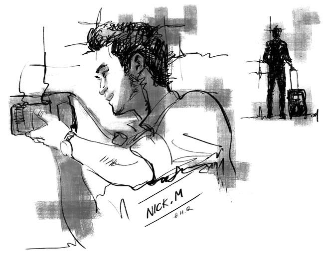 """Chân dung chủ biên cuốn """"1987+: 30 chưa phải là Tết"""" do họa sĩ Đặng Hồng Quân ký họa. Anh cũng là người vẽ chân dung 15 tác giả sinh năm 1987 và 1988 trong cuốn sách này."""