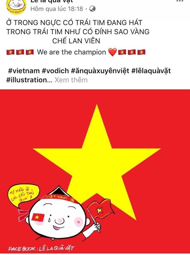 Họa sĩ Đặng Hồng Quân - admin trang Lê la quà vặt vẽ hình người dân đội nón vẫy cờ đón các cầu thủ