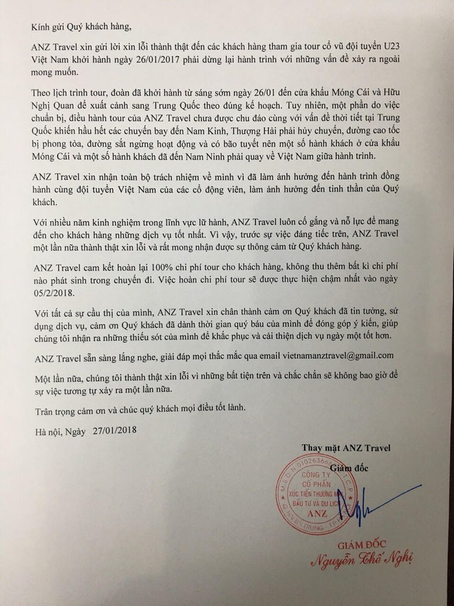 Thư xin lỗi của công ty ANZ Travel gửi tới các du khách bị lỡ chuyến đi cổ vũ đội tuyển U23 Việt Nam