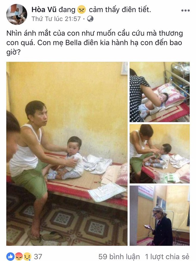 Facebook Hòa Vũ cảm thấy thương cảm khi con của Bella có những vết tím bầm