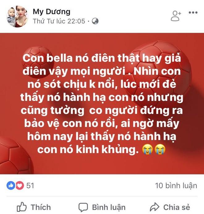 Facebook My Dương băn khoăn không biết Bella điên thật hay điên giả mà lại hành hạ con nhỏ