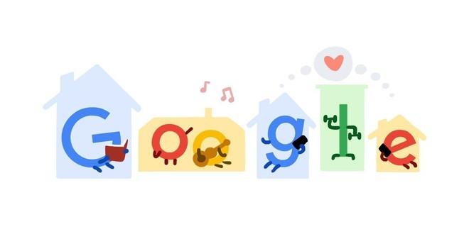 Google Doodle để biểu tượng kêu gọi mọi người cùng ở nhà để ngăn ngừa Covid-19