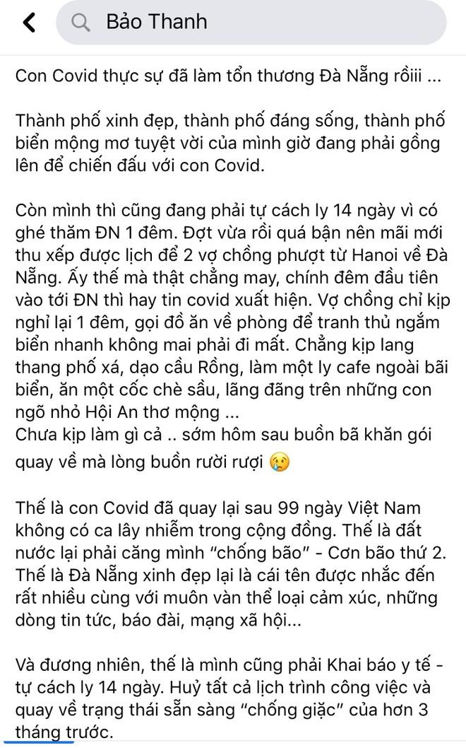 Dòng trạng thái được nữ diễn viên Bảo Thanh đăng tải trên trang facebook cá nhân của cô tối 27/7