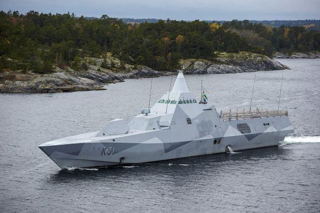 Tàu hộ tống tàng hình HMS Visby đã được điều tới ngoài khơi Stockholm để rà soát