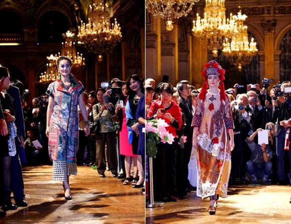 Hoa hậu Ngọc Hân diện áo dài thổ cẩm chinh phục các tín đồ thời trang Paris ảnh 8