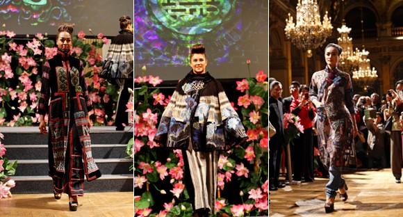 Hoa hậu Ngọc Hân diện áo dài thổ cẩm chinh phục các tín đồ thời trang Paris ảnh 11