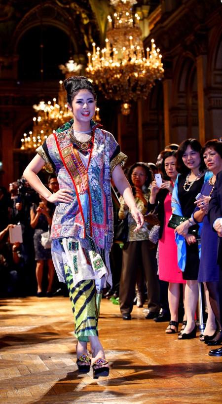 Hoa hậu Ngọc Hân diện áo dài thổ cẩm chinh phục các tín đồ thời trang Paris ảnh 2