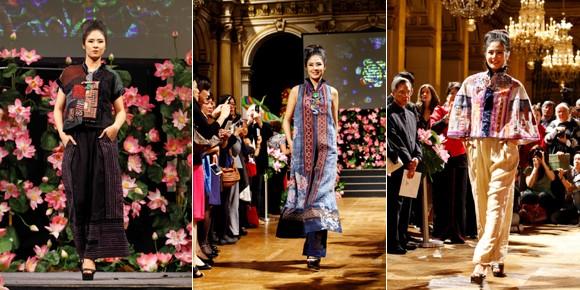 Hoa hậu Ngọc Hân diện áo dài thổ cẩm chinh phục các tín đồ thời trang Paris ảnh 5