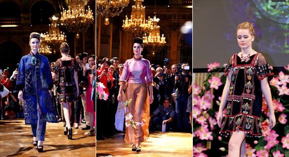 Hoa hậu Ngọc Hân diện áo dài thổ cẩm chinh phục các tín đồ thời trang Paris ảnh 10