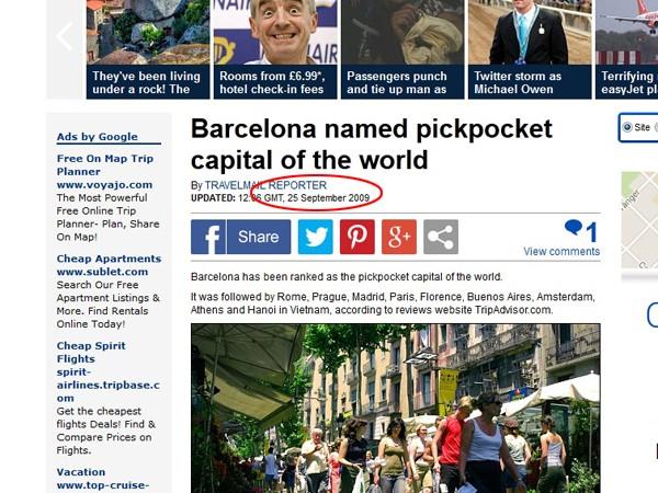 Bài báo đăng trên Dailymail từ tháng 9-2009 dẫn xếp hạng của TripAdvisor