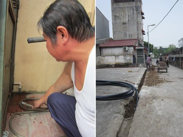Đường nước giếng khoan người dân vẫn sử dụng và đường nước sạch mới đang thi công