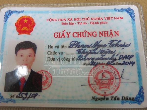 Giấy tờ giả của Phan Ngọc Thực được làm giả có con dấu và chữ ký giả của Thủ tướng Chính phủ giống... y như thật