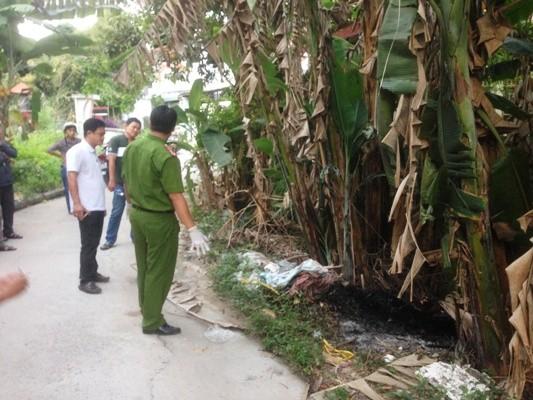 Hiện trường bụi chuối - nơi tìm thấy thi thể chị Bưởi bị thiêu cháy đen