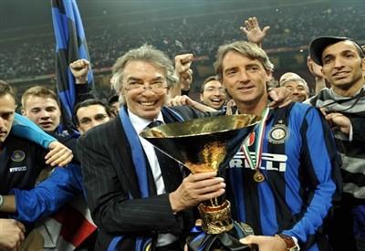 HLV Mancini(phải) đã giành nhiều vinh quang cùng Inter trước đây