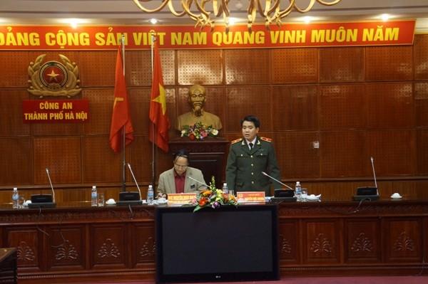 Thiếu tướng Nguyễn Đức Chung phát biểu tại buổi làm việc