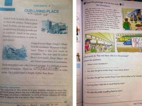 """SGK của Việt Nam (bên phải) bài về chủ đề """"Quê hương tôi"""", nhưng """"Tôi tên là Lisa"""" và """"Tôi sống ở London"""". Trong khi SGK của Nepal, tên nhân vật và địa danh đều gắn với đất nước này ( Ảnh trên facebook củ Võ Thị Mỹ Linh)"""