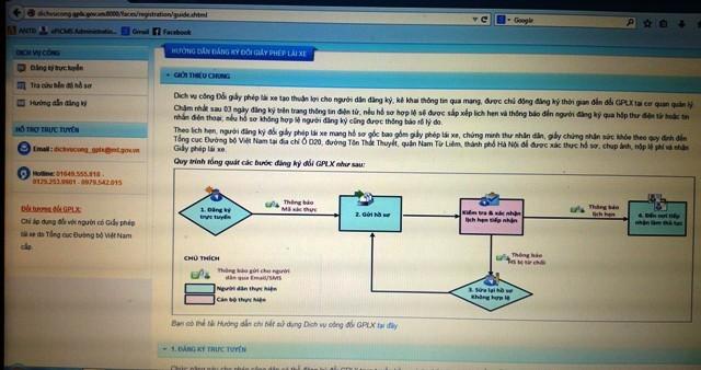 Truy cập vào website: dichvucong.gplx.gov.vn:8000 để kê khai thủ tục đổi GPLX