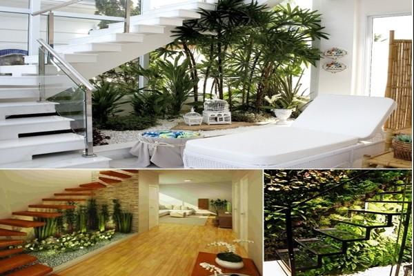 Tạo tiểu cảnh bên dưới cầu thang thêm không gian xanh trong nhà (nguồn: livingroomanddecorating)