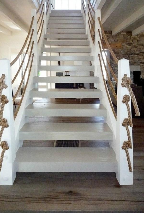 Trang trí cầu thang handmade bằng dây thừng (nguồn: decoholic)