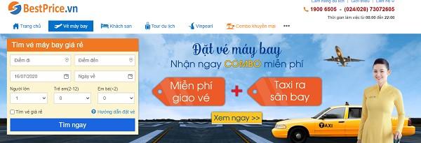 Màn hình đặt vé máy bay giá rẻ của bestprice.vn