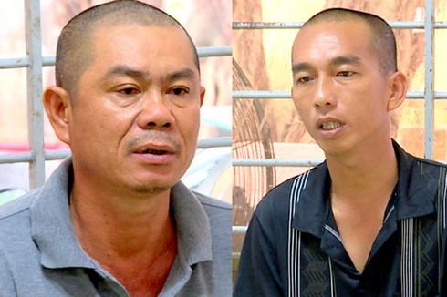 Hiền (bên trái) và Phong tại cơ quan công an. Ảnh: Quảng Bình