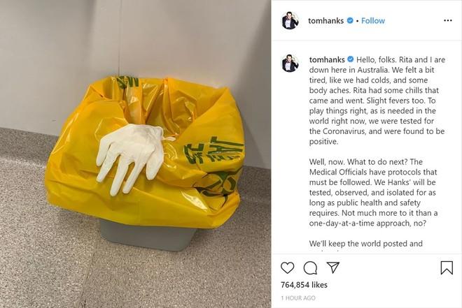 Bài đăng của Tom Hanks trên Instagram thông báo vợ chồng ông đã dương tính với virus SARS-CoV-2