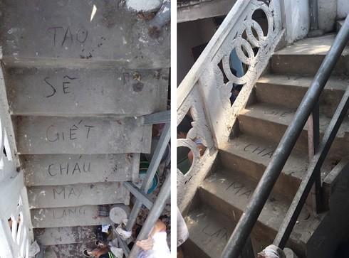 """Dòng chữ """"Tao sẽ giết cháu mày Lăng"""" viết trên bậc thang nhà bé trai bị sát hại"""