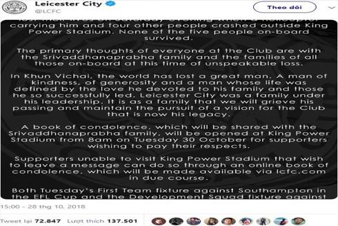 Câu lạc bộ Leicester thông báo chính thức về sự ra đi của Chủ tịch Vichai Srivaddhanaprabha