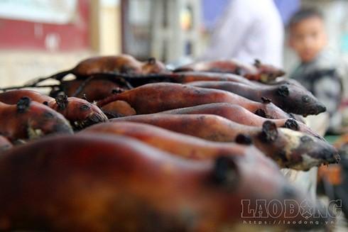 Những con chuột thui rơm, màu nâu đen được bày bán, có giá từ 100 – 120.000 đồng/kg, đắt hơn hẳn thịt gà, thịt lợn