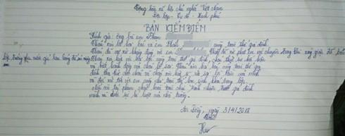 Bản kiểm điểm của cô giáo Hương sau sự việc bắt học sinh uống nước giặt giẻ lau bảng