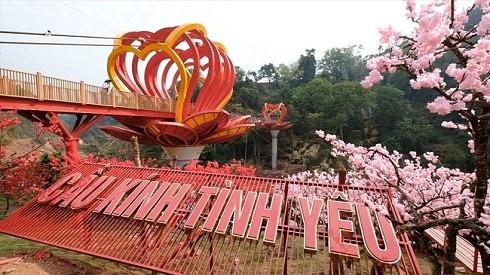 Chiếc cầu kính ở độ cao 22m so với dòng suối phía dưới nằm tại xã Mường Sang huyện Mộc Châu. (Ảnh: Laodong)