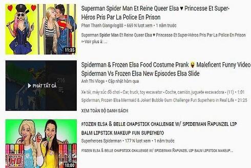Nhiều kênh YouTube mang hình ảnh và nội dung tục tĩu, trẻ em dễ dàng truy cập