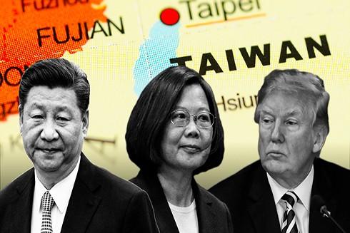 Từ tráng sang phải: Chủ tịch Trung Quốc Tập Cận Bình, Tổng thống Đài Loan Thái Anh Văn và Tổng thống Mỹ Donald Trump (Nguồn: Financial Times)