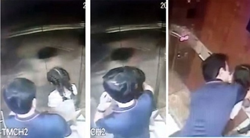 """Hình ảnh ông Nguyễn Hữu Linh """"hôn vào má"""" bé gái trong thang máy chung cư"""
