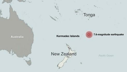 Vị trí xảy ra động đất ở ngoài khơi quần đảo Kermadec, đông bắc New Zealand. (Đồ họa: CNN)