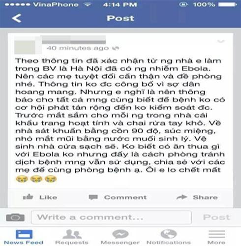 Bài đăng lan truyền thông tin sai sự thật về virus Ebola của Thảo và Trang đã làm cho người dân lo lắng, hoảng sợ. Ảnh: Facebook của một cá nhân