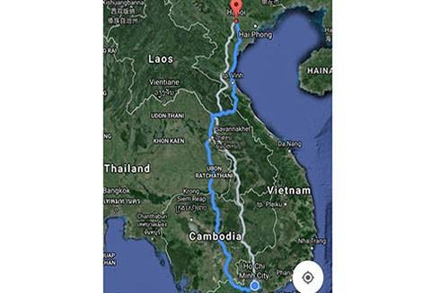 Lộ trình Hà Nội - TP.HCM kinh điển của Google phải đi qua Lào, Campuchia, Thái Lan.