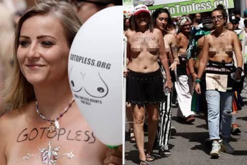 """Cuộc diễu hành phụ nữ """"thả rông"""" ngực tại New York, Mỹ"""