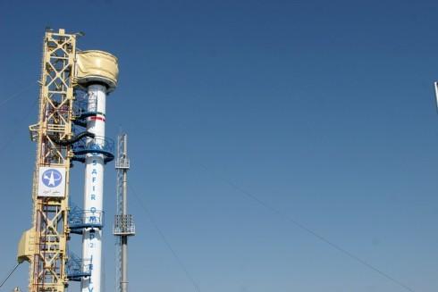 Tên lửa Safir của Iran trên bệ phóng (Ảnh AFP)