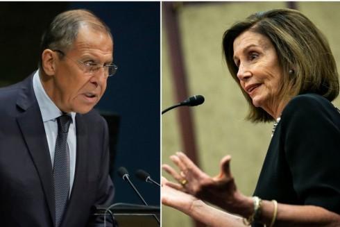 Ngoại trưởng Nga Sergei Lavrov và Chủ tịch Hạ viện Mỹ Nancy Pelosi