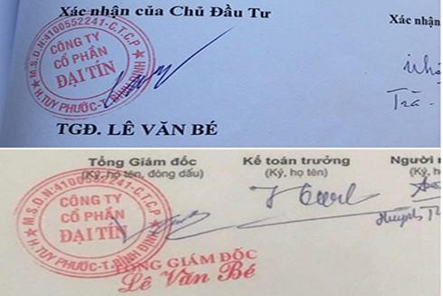 Chữ ký trên phiếu thu tiền (phía dưới) là do bà Lê Thị Hồng Thu giả mạo - Ảnh: THÁI THỊNH