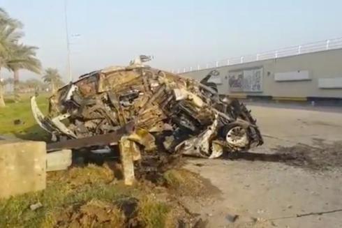 Hình ảnh chiếc xe chở tướng Soleimani bị thiêu rụi tại hiện trường vụ không kích ngày 3-1-2020