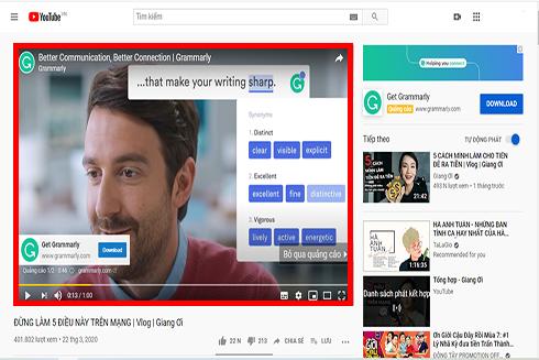 """Sử dụng hình thức """"Trueview in-stream Ads"""", clip quảng cáo sẽ được phát trước, trong khi người dùng xem video và có thể bỏ qua sau 5 giây"""