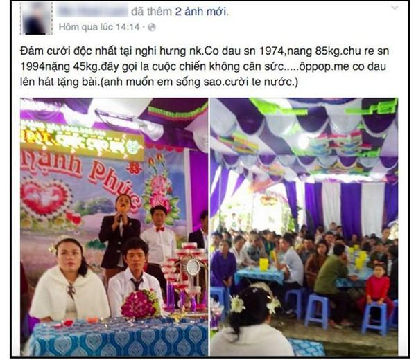 Thông tin về đám cưới cô dâu hơn chú rể 20 tuổi và nặng hơn 40 kg được đăng tải trên mạng