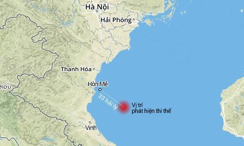 Vị trí phát hiện thi thể quấn vải dù cách Hòn Mê (Thanh Hóa) khoảng 33 hải lý. Ảnh: VNE