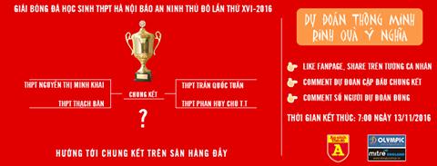 Dự đoán để nhận phần thưởng hấp dẫn cùng giải bóng đá học sinh THPT Hà Nội