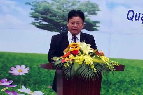 Ông Vũ Văn Hoạt, Phó Chủ tịch UBND quận Hai Bà Trưng phát biểu tại lễ phát động
