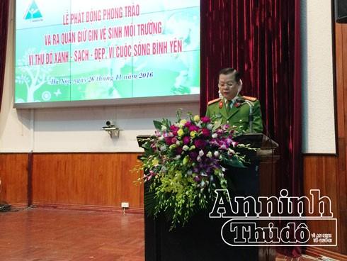 Đại tá Đào Thanh Hải, Phó Giám đốc CATP Hà Nội phát biểu chỉ đạo tại lễ phát động tại BV Việt Đức