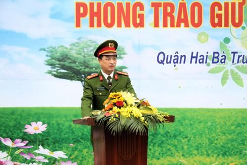 Đại tá Nguyễn Duy Ngọc, Phó Giám đốc CATP Hà Nội phát biểu trong lễ phát động tại Bệnh viện Thanh Nhàn
